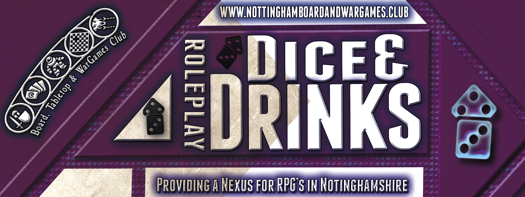 Drinks and dice banner